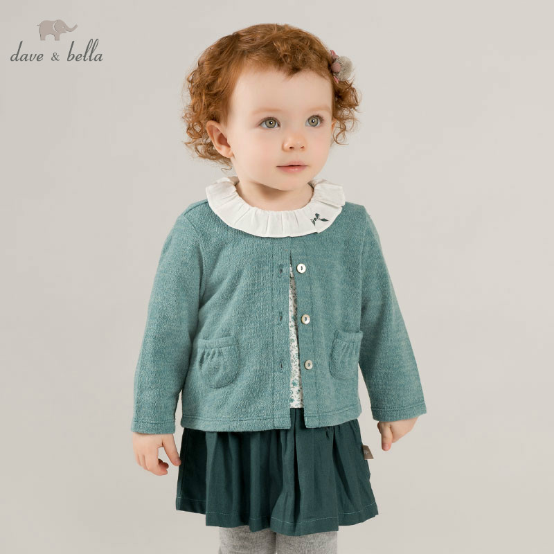 DB8423 dave bella spring green dress baby girl s long sleeve dresses kids birthday party dress