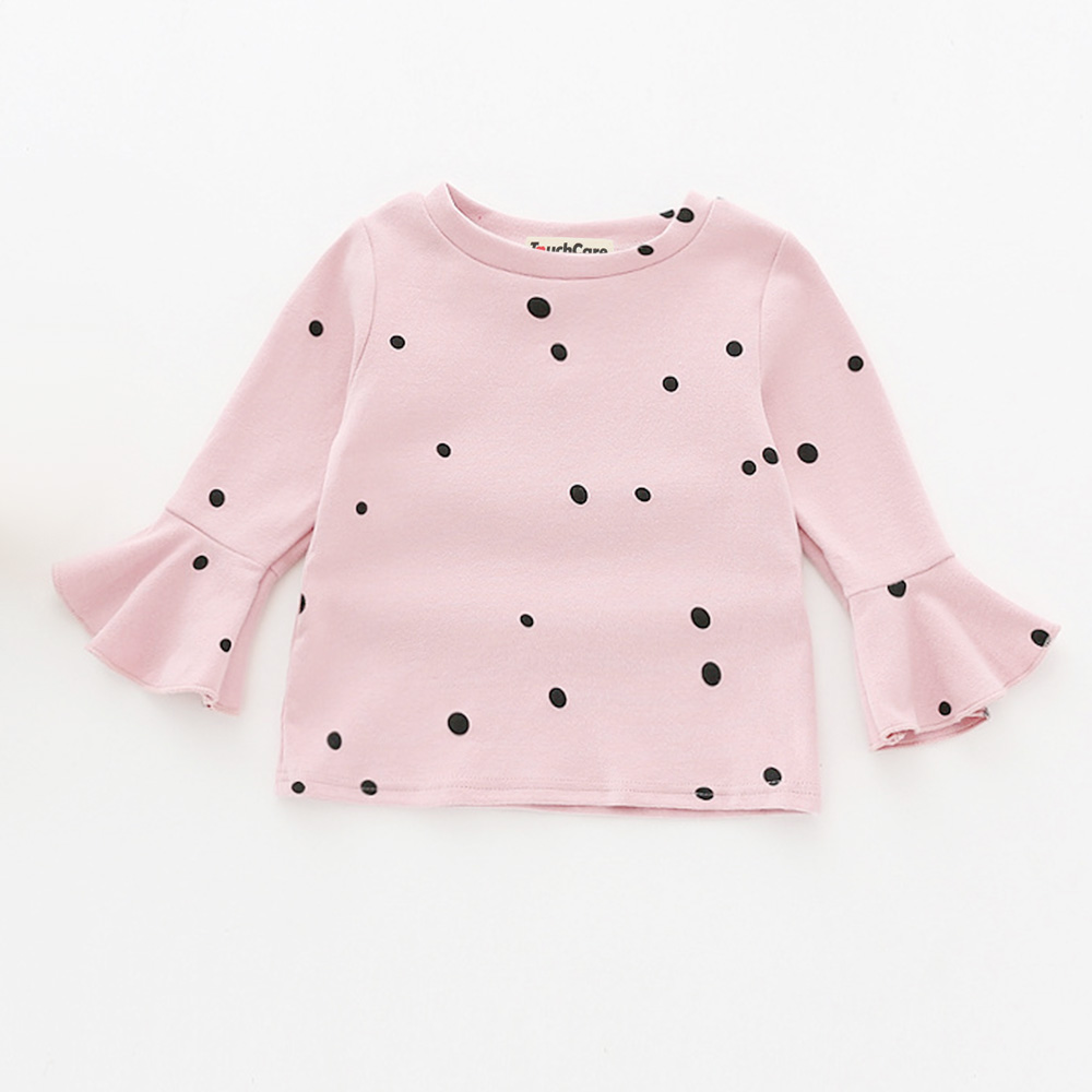 Touchcare-Lotus-Leaf-Sleeve-Baby-Girl-T-Shirts-Solid-White-Pink-Yellow-Colors-Dots-T-shirt-Autumn-Cotton-Baby-Girl-Clothes-1