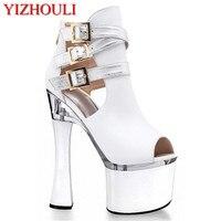 Popular fashion single code female shoes fashion runway model with 18 cm high heels