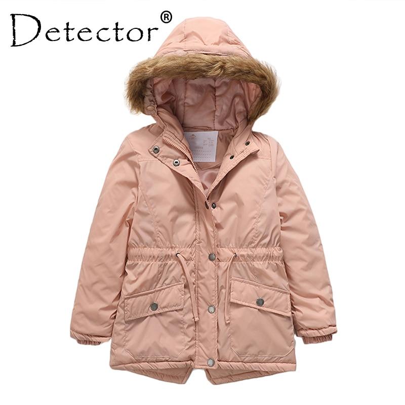 Detector Girls' Parka Jackets Hooded Warmly Children Cotton Coats Girl Winter Fur Coat Girls Kids Hiking Jacket Outerwear