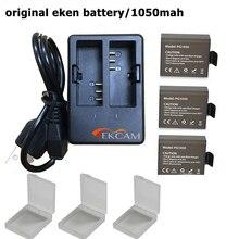 Экен Аксессуары 3×1050 мАч Аккумуляторная Батарея с USB Двойной Зарядное Устройство для eken h9 h8 h3r sj4000 SJ5000 SOOCOO 4 К Действий Камеры