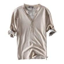 2018 New British Men Shirts Dress 100%Cotton Half Sleeve Henley Collar V Neck Solid Autumn Casual Shirts Hombre Camisa Clothes