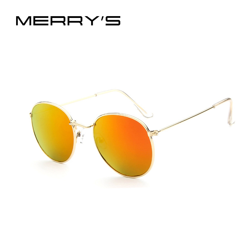 MERRY S Fashion Retro Round font b Sunglasses b font Women Classic Brand Designer Unisex font