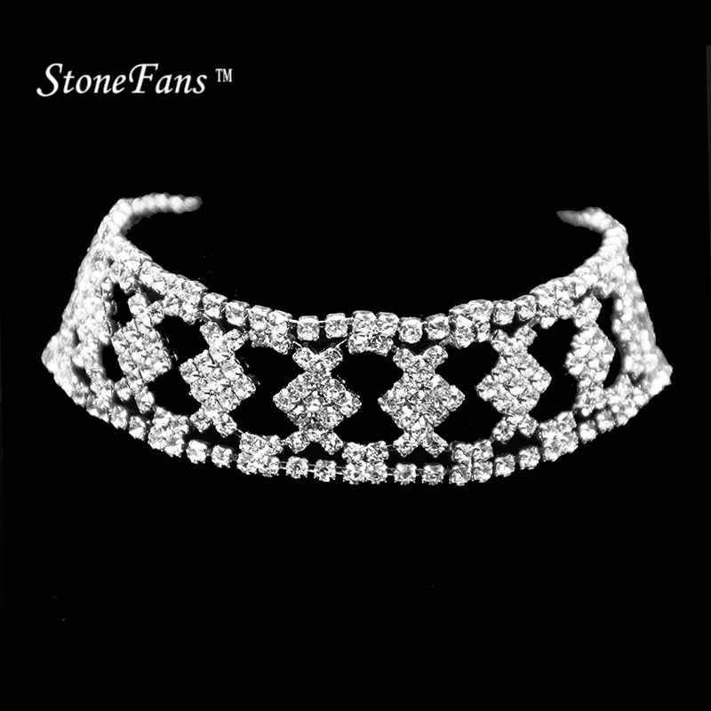 StoneFans Checkered  Rhinestone Choker Necklace 2017 Luxury Statement Crystal Chokers Necklaces For Women Chunky Neck Accessory