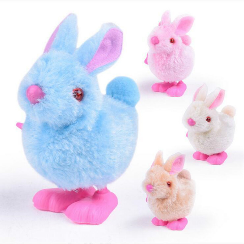 Pluh Bunny Toys Infant Child Stuffed Toys Hopping Wind Up Clockwork Jumping Rabbit Toy Festival Gift Random Color