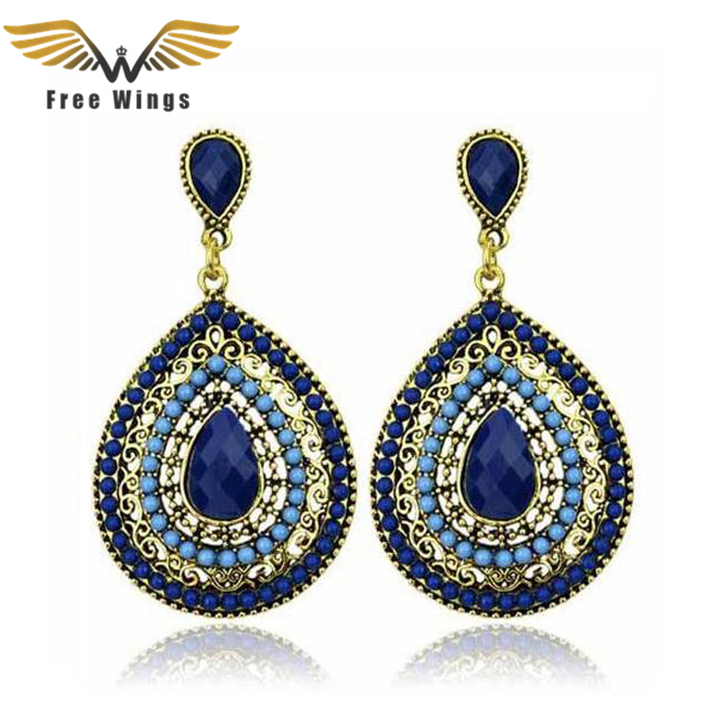 Store lange øreringer Drop Crystal Vintage øreringer for kvinner fra India Bohemian Earings Fashion Smykker 2017 Dropshipping