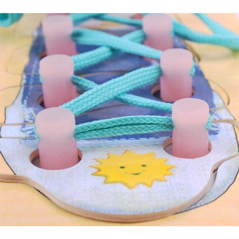 Монтессори игрушки Дети раннего образования обучающая головоломка деревянная доска для игрушек шнуровка шнурка обучения галстук обуви кружева развивающая игрушка