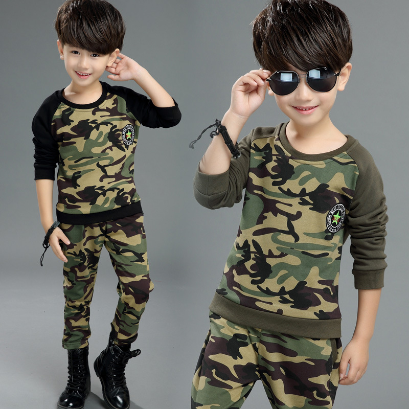 2017 Autumn New Style Boys Five Waze Camouflage Long Sleeve Two-Piece Children Clothing Sets 5 6 7 8 9 10 11 Years Old Pullovers