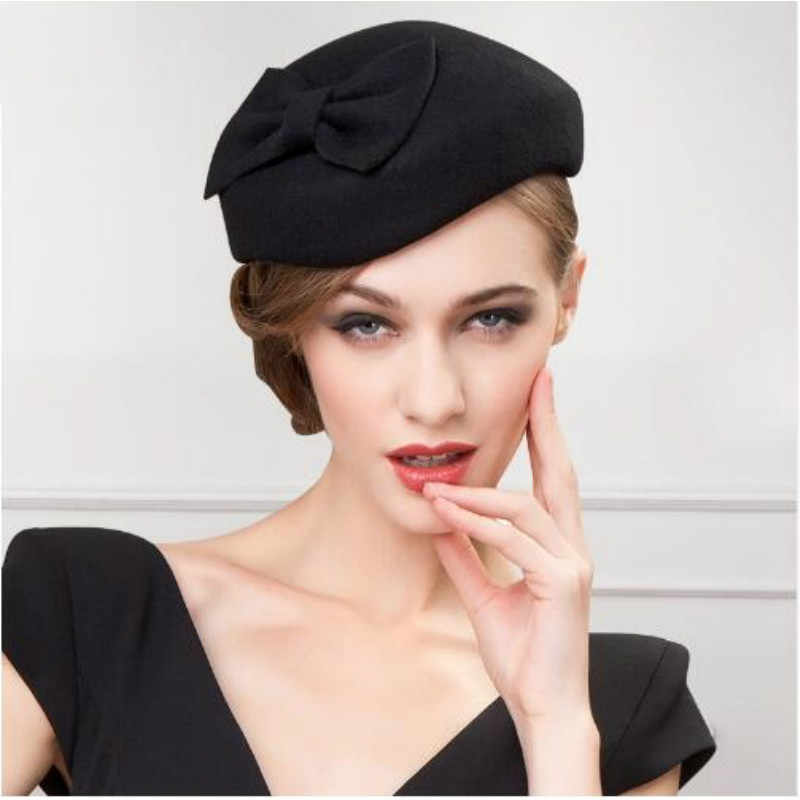 77ed88270230d Lady Winter Wool Hat Elegant black fedora hats for women wool church For  Ladies vintage Wedding