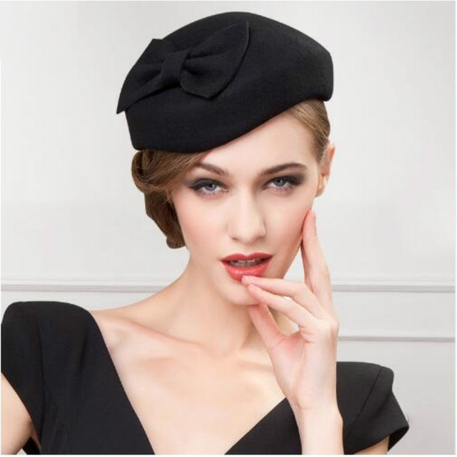 Della signora Cappello di Lana di Inverno Elegante nero fedora cappelli per le  donne di lana 6e9046b10f61