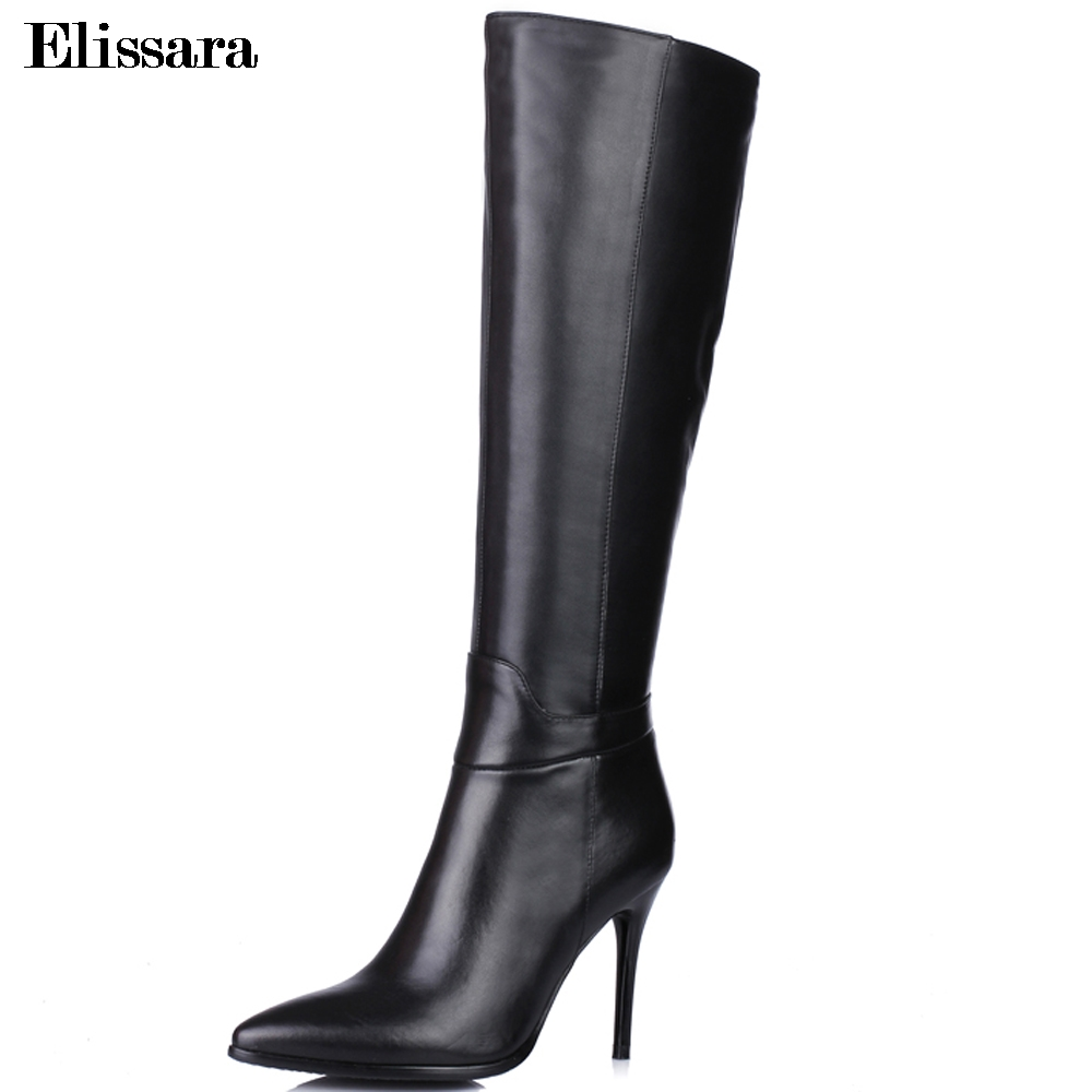 Elissara Women High Heels Knee High Boots Shoes Woman Genuine Leather+PU Zip Pointed Toe Shoes Winter Feminine Boots facndinll women knee high boots leather winter boots pointed toe zip casual shoes women high heels size 32 45 black boots woman