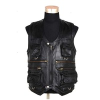 Genuine Leather Vest Sleeveless Jacket Men Casual Vest Many Pockets Brown Black Waistcoat Windproof Jacket Vest Big Size 7XL