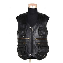Sleeveless Genuine Leather Jacket Men Casual Vest With Many Pockets Brown Black Waistcoat Outdoor Windproof Motorcycle Vest 6XL
