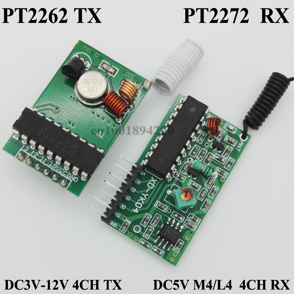 RF Transmitter Receiver Modules System 4CH Encoding Receiver Transmitter Module PT2262 PT2272 Momentary Latched receiver