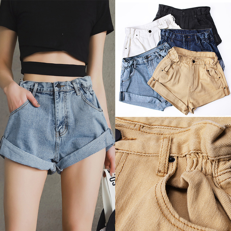 Europe Style Vintage Cotton Crimping Denim Shorts Women Elastic High Waist Shorts Summer Casual Hot Slim Cuffed Jean Shorts 2019