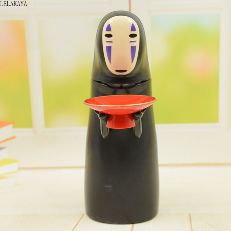 Faceless Man Cartoon Black No Face Man Anime Spirited Away Action Figure Printed Plastic Electric Piggy Bank Save Money Box Doll