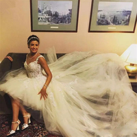 Short A Line Beaded Tulle Wedding Gowns Appliqued Muslim Arabic Dress Sexy Backless Bride Dress With Detachable Train