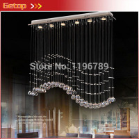 GETOP Modern Crystal Chandelier Hanging Wire Crystal Lamps LED Wave Crystal Light Bar Restaurant Living Room Lights Aisle Lamp