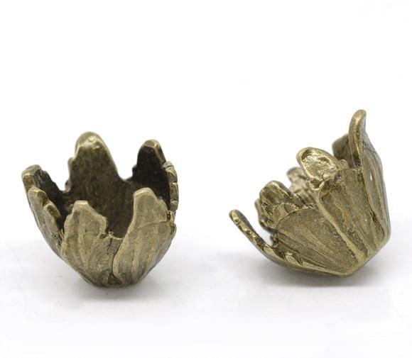 DoreenBeads Zinc Metal Alloy Beads Caps Flower Antique Bronze(Fits 15mm Beads)Leaf Pattern 19mm(6/8