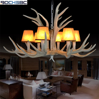 BOCHSBC Resin 6/8/10/12/15/28 Heads Antler Chandeliers Lamp With Fabric Lampshade Hanging Lights for Living Room Dinning Room