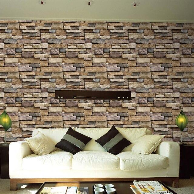 new fashion 3d wall paper brick stone design rustic effect self