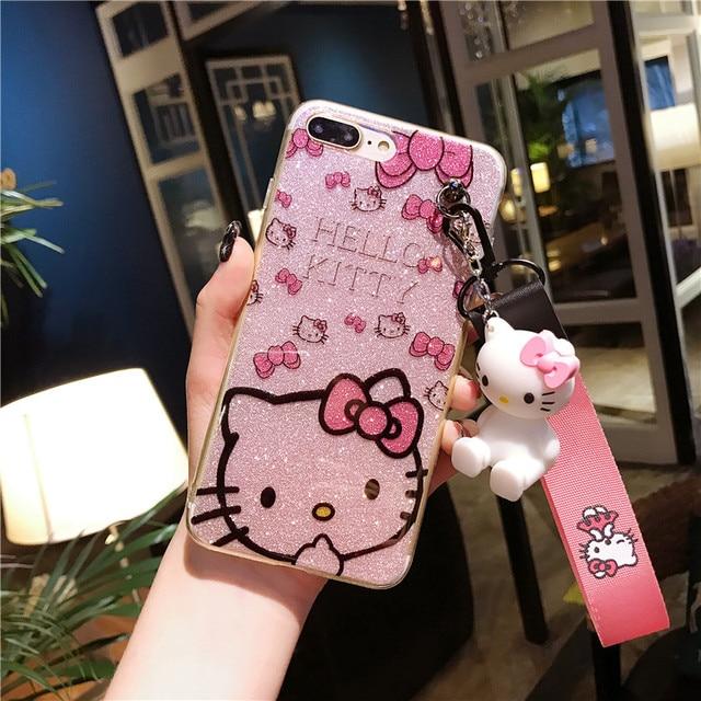 Для iPhone 8 8 плюс Kitty чехол, bling рисунок «Hello Kitty» чехол для iPhone 5 5S 6 6 S 6splus 7 7 plus XS max XR X чехол телефона + игрушка + ремень