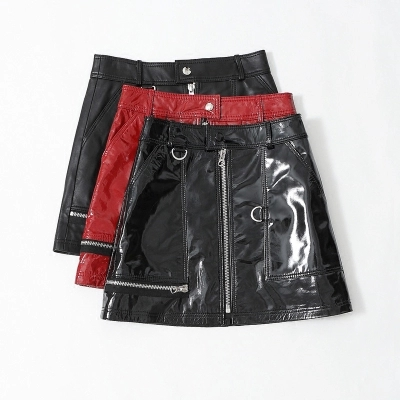 Taille Verni rouge Mouton Haute Jupe Cuir Noir De Peau En qwPIRXBq