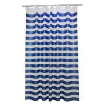 Rideau de douche PEVA à rayures croisées bleues et blanches, cloison imperméable et résistante à la moisissure