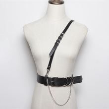 New sexy women Leather harness wide belts for strap Punk Hip-hop Silver Metal buckle Waist Chain belt Pants Femme