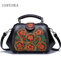 LUOFEIHUA пояса из натуральной кожи для женщин сумки для Новинка 2019 года вышитые сумка Винтаж плеча дизайнерская сумка через плечо