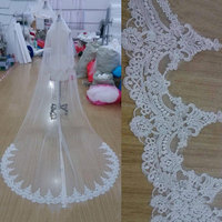 White ivory cathedral length wedding veils one layer lace bridal accessories veil with comb.jpg 200x200