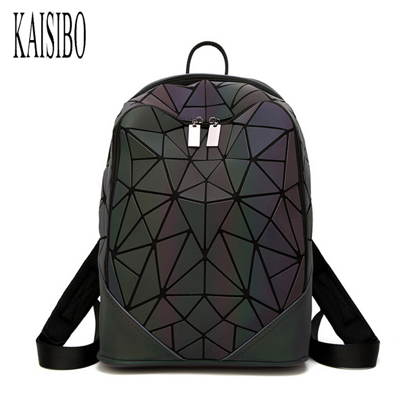 KAISIBO Fashion Women Backpack Mochila Geometric Luminous Bagpack New Irregular Triangle Sequin Travel Bags for School Backpacks geometric pattern irregular front fly cardigan