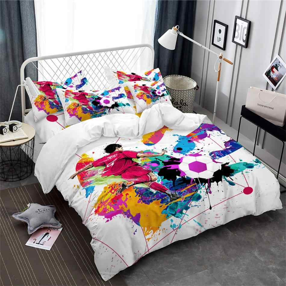 Watercolor Football Basketball Bedding Set 3D Sports Duvet Cover Set King Queen Bedding Boys Colorful Bedclothes Home Decor