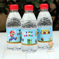 24pcs New Super Mario Bros Water bottle label Happy Birthday candy bar kids birthday party supplies baby shower party decoration