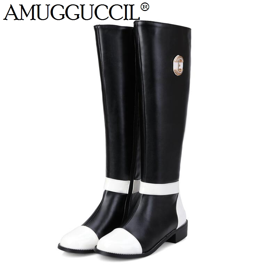 2017 New Plus Big Size 32-43 Black White Brown Zip Fashion Knee High Autumn Spring Winter Girls Female Lady Womens Boots X1371 - Great Shoes store
