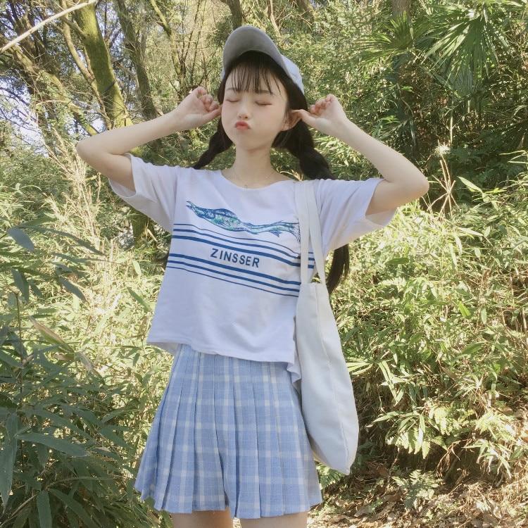 Image 4 - New Spring High Waist Plaid A line Skater Skirts Harajuku Tutu Skirt Japanese School Uniform Kawaii Harajuku Mini Pleated Skirt-in Skirts from Women's Clothing