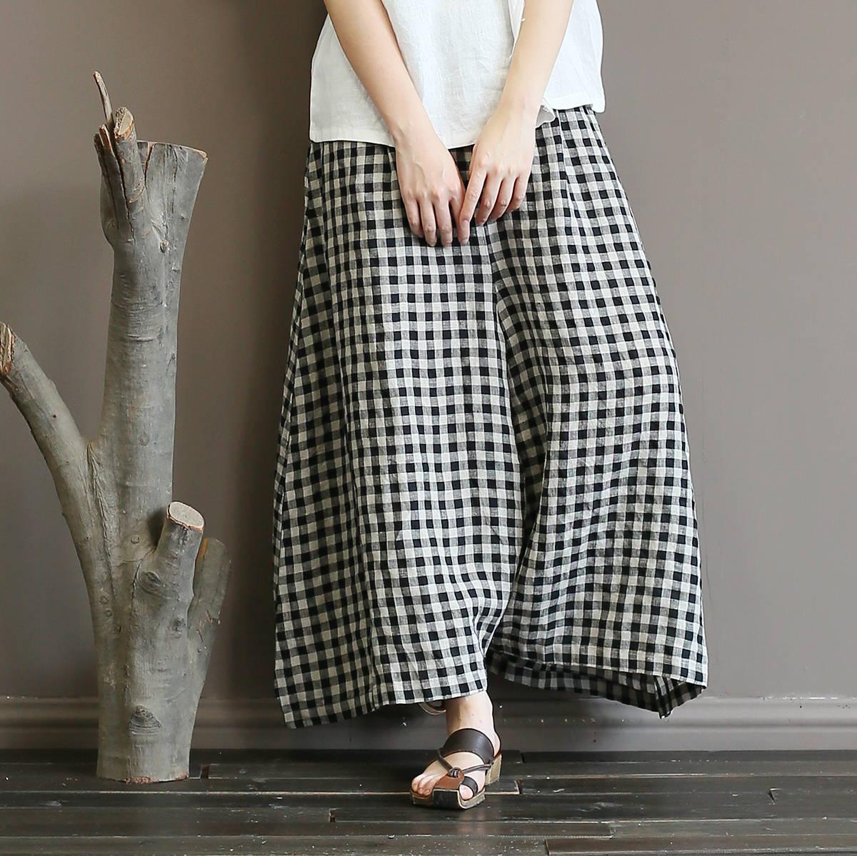 Johnature Vintage Plaid Elastic Mid Waist Pants 2018 Summer New Loose Linen Pockets Women Full Length Wide Leg Pants