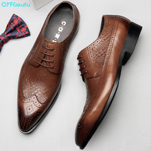 QYFCIOUFU Pointed Toe Men Dress Shoe New Formal Black Brown Men Genuine Leather Shoes Flats Work Brogue Shoes Hot Sale Fashion
