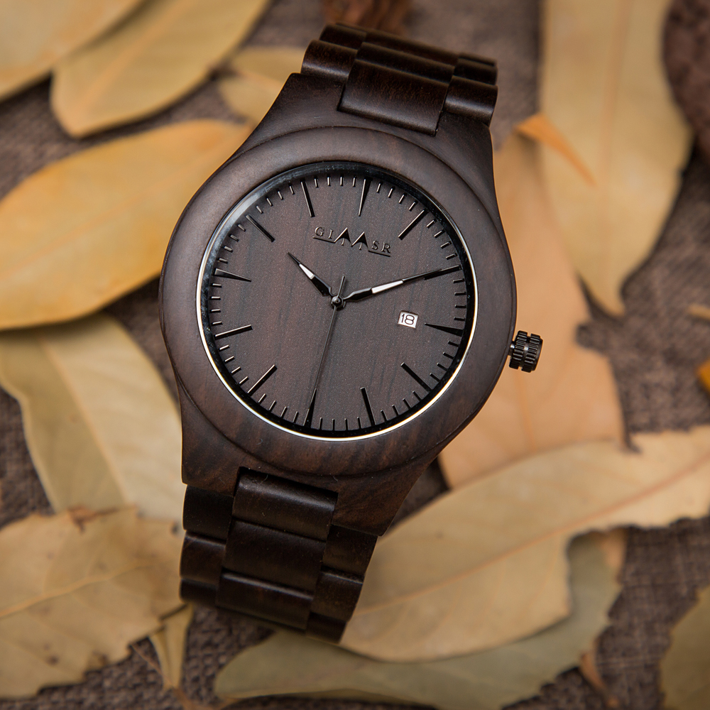 2018 GIMSR hommes mode bois montres hommes Quartz analogique Date horloge homme en bois naturel bois de santal décontracté Relogio Masculino