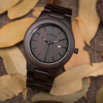 2019 GIMSR Men's Fashion Wood Watches Men Quartz Analog Date Clock Man Wooden Natural Sandalwood Casual Watch Relogio Masculino