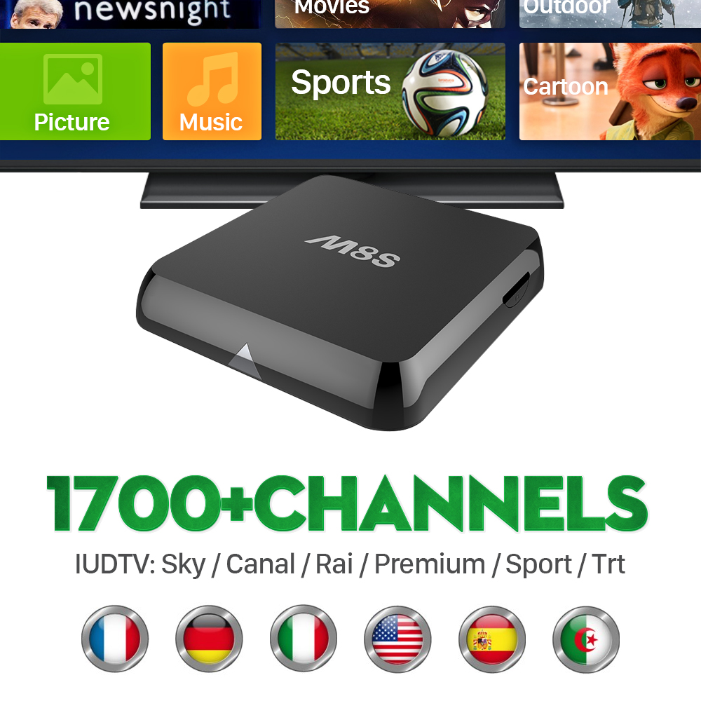 ФОТО M8S TV Receiver Europe Smart Android TV Set Top Box with 1700+ IPTV Channels Live Sport Arabic Italy 1 year iudtv Media Player