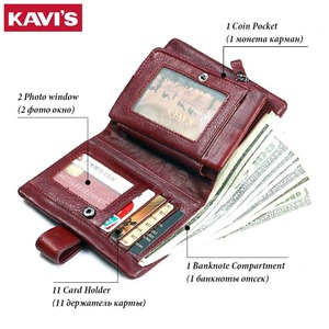 Image 3 - KAVIS 2020 Genuine Leather Women Wallet And Purses Coin Purse Female Small Portomonee Rfid Walet Lady Perse For Girls Money Bag