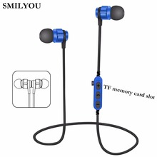 SMILYOU T8 Metal Magnetic Bluetooth 4.2 Earphone Headset Sport Wireless Bluetooth Headset With Microphone For Mobile Phone