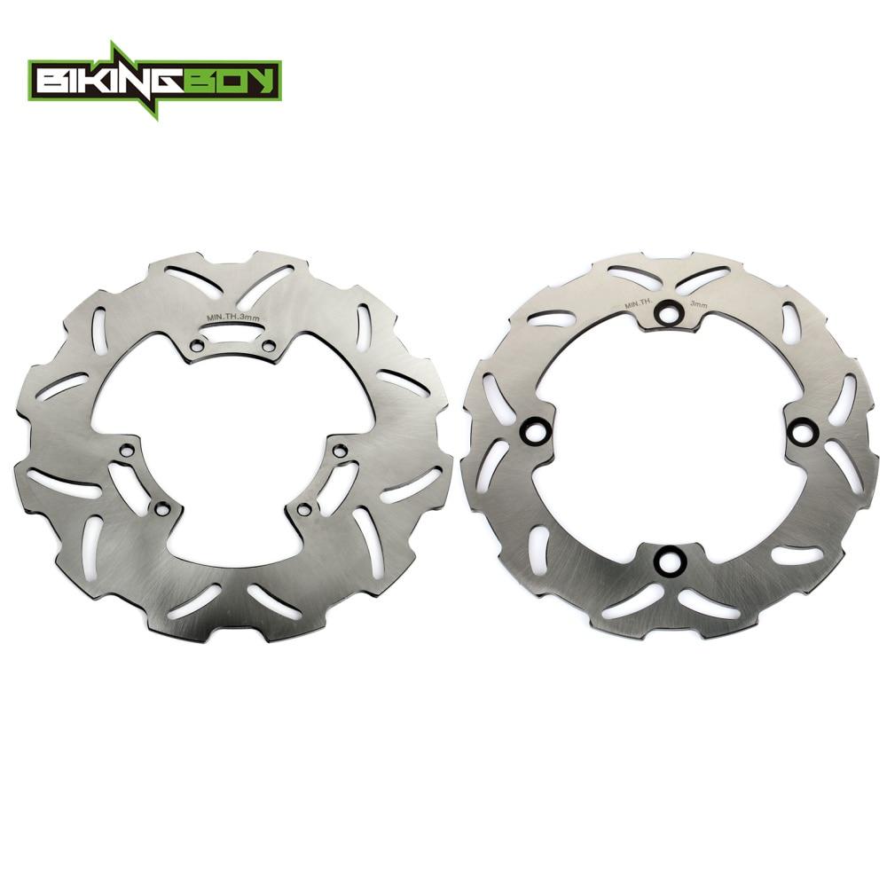 BIKINGBOY 2pcs MX Offroad Front Rear Brake Discs Rotors Wave Set for Honda CR125R CR125E CR250R CR250E CR500E CR500R 1995 1996 motorcycle front and rear brake pads for honda cr125r cr250r cr500r cr 125 250 500 r 1987 2001