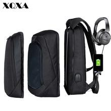XQXA Laptop Backpack Men/Women USB Computer Bag Water-resistent College School Unsex 17 Bagpack Black