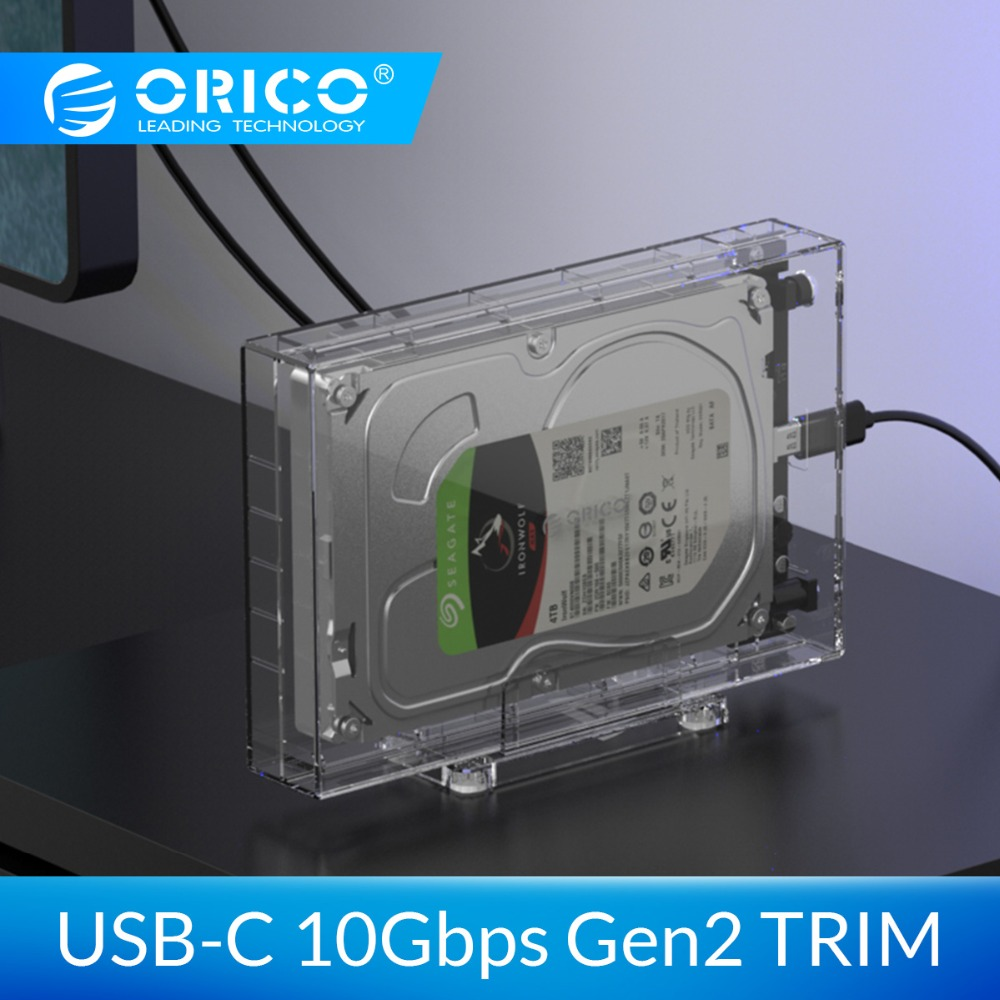 ORICO 3.5'' SATA To USB 3.1 HDD Case 10Gbps Gen2 Support UASP TRIM 12TB Max Transparent SSD Hard Drive Enclosure With Holder