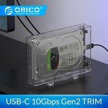 ORICO 3,5 »SATA USB 3,1 корпус для внешнего жесткого диска 10 Гбит/с Gen2 Поддержка UASP отделкой 12 ТБ Макс прозрачный жесткий диск SSD корпус жесткого диска с держателем