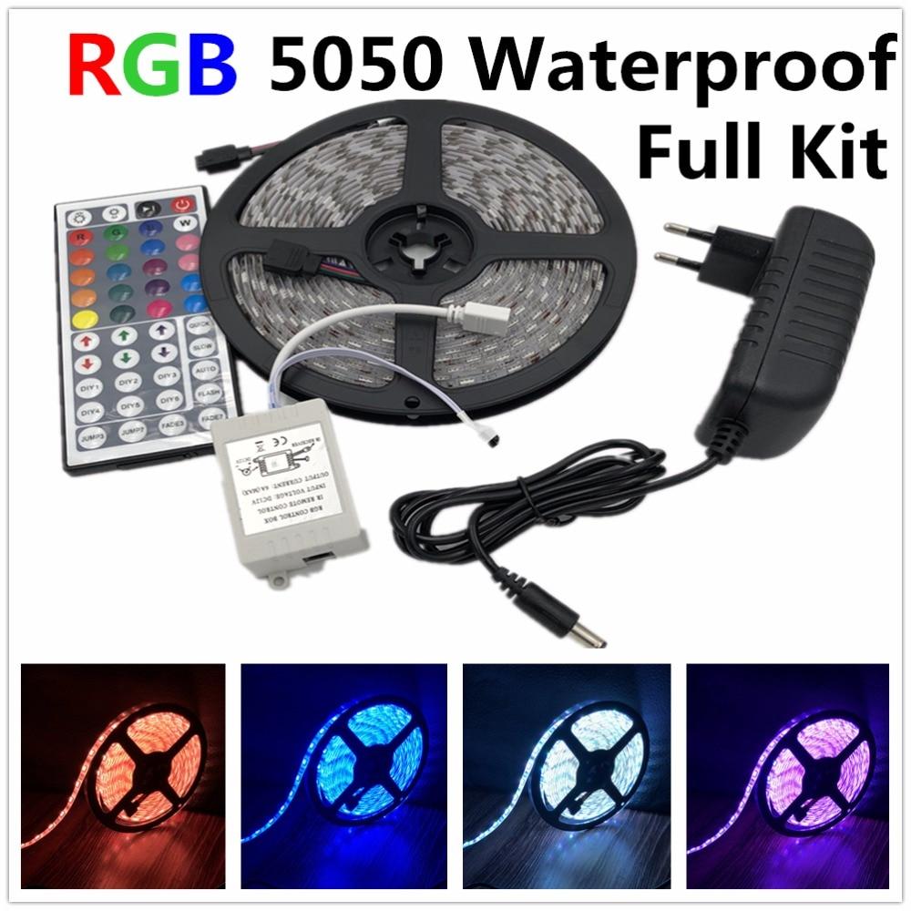 Led streifen licht 5050 RGB band set wasserdicht ip65 300led 5 mt mit 44key fernbedienung 12 V netzteil farbe ändern