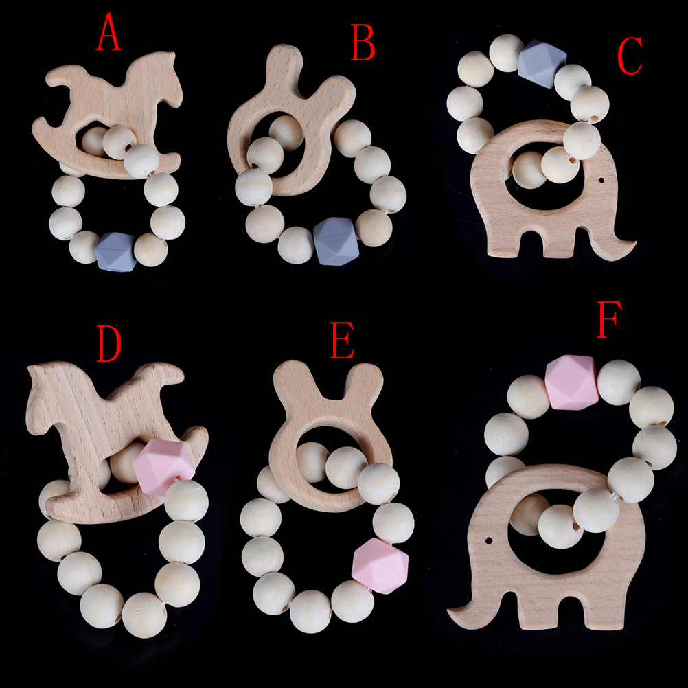 Natural Wood Ring Silicone Beads Nursing Baby Rattles Teething Hand Weave Bracelet Organic Infant Neutral Gift Toys