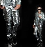 Stage persönlichkeit männer hosen silber nieten hose männer füße hosen sänger tanz-männer rock mode europäischen stil pantalon homme